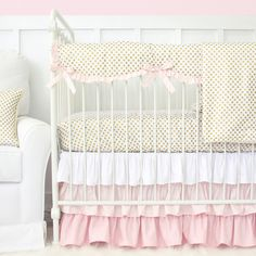 Blush-Gold Dot Bumperless Crib Bedding Collection