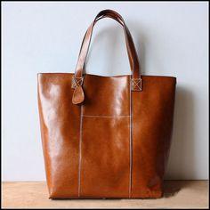 Handmade Large Leather Tote Bag / Lady Bag / Shopper Bag / Shoulder Bag in Retro Brown  0032
