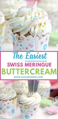 This is the EASIEST Swiss Meringue Buttercream recipe you'll ever make! easy 3 ingredients easy for a crowd easy healthy easy party easy quick easy simple Meringue Frosting, Cake Frosting Recipe, Icing Frosting, Cake Icing, Frosting Recipes, Cupcake Recipes, Eat Cake, Cupcake Cakes, Frosting Types