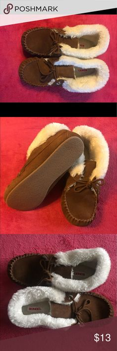 Never worn moccasins with fur!! Moccasins or home slippers!!  Your choice!!  Brand new!! BONGO Shoes Moccasins