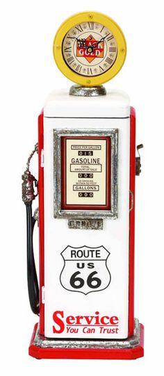 """21 inch tall nostalgic gas pump clock great """"thinking of you gift"""" for vintage car restorers!"""