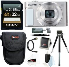 Canon PowerShot SX620 HS Digital Camera (Silver) with 32GB Deluxe Bundle. Includes- Canon PowerShot SX620 HS Digital Camera | Sony 16GB SD Card | Medium Point & Shoot Camera Accessory Bundle. Canon Authorized Dealer - Includes USA Manufacturer's Warranty. Powerful 25x Optical Zoom with Intelligent IS helps optimize image stabilization for virtually shake-free image. Built-in Wi-Fi and NFC | 20.2 MP CMOS sensor | DIGIC 4+ Image ProcessoR. Capture spectacular 1080p Full HD video | Large...
