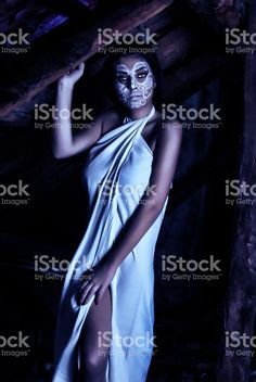Beautiful girl with creative make up for the Halloween royalty-free stock photo