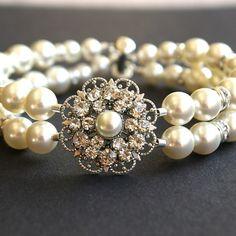 Art Deco Style Bridal Bracelet, Vintage Style Wedding Bracelet, Ivory White Pearl Bracelet, Old Hollywood Bridal Wedding Jewelry, Charlotte