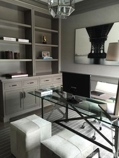 Transitional Home Office With Gray Built-Ins | HGTV