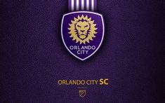 Download wallpapers Orlando City FC, 4K, American soccer club, MLS, leather texture, logo, emblem, Major League Soccer, Orlando, Florida, USA, football, MLS logo