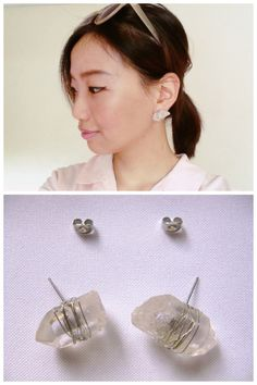 truebluemeandyou:  DIY Rough Crystal Earrings from and then...