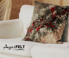 Felted decorative pillow of exclusive pillow is handicraft from Gotland wool. Wool Felt Pillow, Brown, Black Natural Fibre Decorative