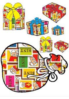Juf Emmy SORTEERSPEL Knip de pakjes uit en Kleef deze op een wasknijper.  Geef de kleuters de opdracht de pakjes in de correcte zak van zwarte piet te stoppen. (Aan de zak hangen met de wasknijper) Saint Nicolas, Theme Noel, Christmas Clipart, Saints, December, Clip Art, Projects, Crafts, Wood Paintings