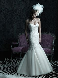 Allure Bridals, style C227.  In LOVE with this fit and flare ... beaded dropped waist with organza skirt.