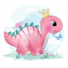 cute little dinosaur with butterfly, Watercolor, Birthday, Baby PNG and Vector Dinosaur Play, Dinosaur Drawing, Girl Dinosaur, Cute Dinosaur, Cartoon Dinosaur, Die Dinos Baby, Baby Dinosaurs, Baby Animals, Cute Animals