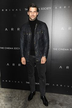 "NEW YORK, NY - NOVEMBER Model Johannes Huebl attends a screening of Paramount Pictures' ""Arrival"" hosted by Spike Jonze and the Cinema Society at The Metrograph on November 2016 in New York City. (Photo by Rabbani and Solimene Photography/Getty Images) Johannes Huebl, Bomber Jacket Outfit, Madrid, Best Street Style, British Fashion Awards, Best Shopping Sites, All Black Looks, Wearing All Black, Layering Outfits"