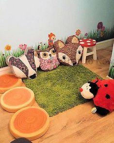 Wooden Childrens Kids Toadstool Stool Fairy Fairies Woodland Theme Bedroom Chair #childrenBedroom #Woodland