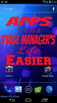 Apps to Make a Stage Manager's Life a Little Easier - brokeGIRLrich - Gadgets Theatre Geek, Theatre Stage, Musical Theatre, Theatre Group, Theatre Design, Stage Design, Set Design, Drama Teacher, Drama Class