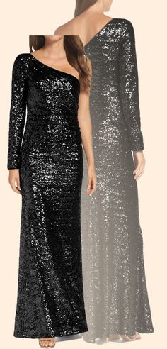 Elegant One Shoulder Long Sleeves Sequin Formal Evening Gown Black Prom Dress Black Prom Gown #dress #gown #formaldress #formalgown #prom #prom2018 #promdress #promgown #wedding #black #sequin