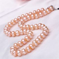 Find pink 7.5 - 8.5mm freshwater off-round pearl necklace, pearl necklaces, pearls jewelry at discount prices