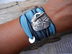 Silver Jewelry, Inspirational Quote, Silk Wrap Bracelet by HappyGoLicky, $49.50 Use 10% off coupon code: PIN10 ... #summer #jewelry