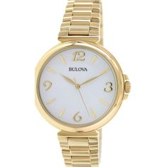 Bulova Women's Classic 97L139 Gold Stainless Steel Quartz Watch ($114) ❤ liked on Polyvore featuring jewelry, watches, stainless steel, quartz watches, stainless steel jewelry, gold wristwatches, white face watches and bulova watches