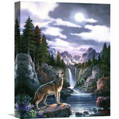"Global Gallery 'Wolf Moon' by James Lee Painting Print on Wrapped Canvas Size: 16"" H x 12"" W x 1.5"" D"