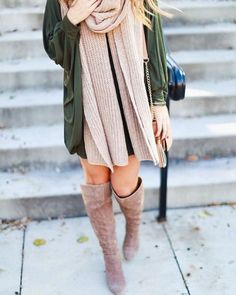 Anorak and suede boots.