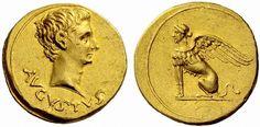 Rare Roman Gold Aureus of Augustus BCE - 14 CE) reverse Featuring a Sphinx Ancient Rome, Ancient Art, Ancient History, Artemis, Coin Design, Roman Art, Rare Coins, Gold Coins, Graphic Art