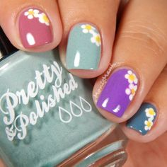 Pastel colors and dainty daisies adorn this refreshing manicure. Refer to this how-to and the nail products recommended to DIY. Funky Nail Designs, Gel Nail Designs, Really Cute Nails, Pretty Nails, August Nails, Easter Nail Art, Floral Nail Art, Funky Nails, Flower Nails