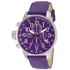 Invicta 11522 Men's I Force Lefty Chronograph Purple Dial Purple Canvas and Leather Strap Watch