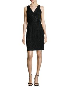 Lyndsey Embellished Faux-Wrap Dress, Black by Diane von Furstenberg at Neiman Marcus.