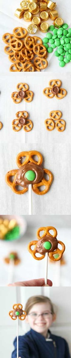st patrick's day shamrock pretzel pop recipe pinterest collage