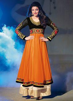Kajal Aggarwal Orange and Black Anarkali Suit – Lashkaraa