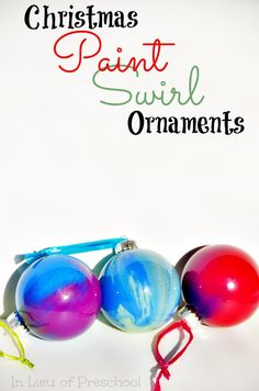 Paint Swirl Christmas Ornaments - An All Ages Holiday Craft -- bet you can't make just one!