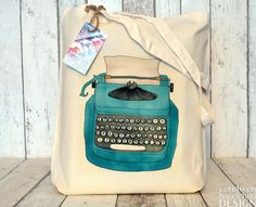 Blue Typewriter Illustration Eco Cotton Tote Bag by ceridwenDESIGN, £5.99