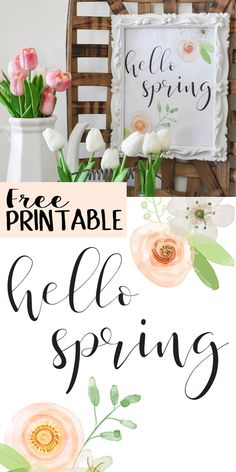 Spring is just about here! Are you ready to decorate? Grab this gorgeous hello spring printable for free and use it to spruce up your spring decorating! Welcome Spring, Spring Sign, Happy Spring, Hello Spring, Easter Printables, Free Printables, Printable Art, Spring Quotes, Spring Sayings