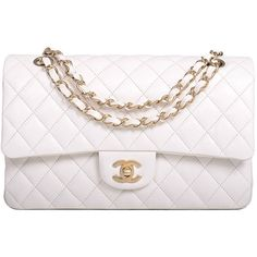 Pre-owned Chanel White Quilted Lambskin Large Classic Double Flap Bag... ($6,200) ❤ liked on Polyvore