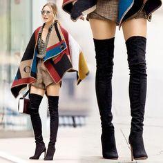 Black Suede Knee-High Thigh-High Tall Boots @ AliExpress $50
