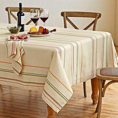$80 Rustic Stripe Tablecloth, 70x126; williams sonoma