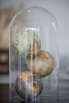 globe world map cloche decor geography Design Diy, Cloche Decor, Map Globe, The Bell Jar, Bell Jars, World Globes, Apothecary Jars, Travel Themes, Glass Domes