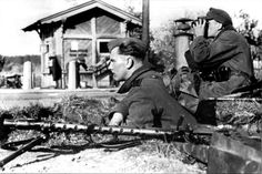 German soldiers of the 24th Panzer Division, 4th Panzer Army, guard the Stalingrad-Karpovka railroad west of Stalingrad which had just been captured by their division. Near Stalingrad (now, Volgograd), Volgograd Oblast, Russia, Soviet Union. 31 August 1942.