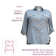 Ropa para Gorditas; Blusa Modelo Marpe 29; Tallas: 38, 40, 42 y 44; Precio: $290