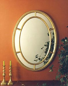 Rope Oval Mirror: This classic design with its open fretwork has a timeless quality and an antique gold leaf finish. 29