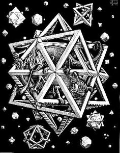 Escher's Stars, 1948. Four things and a lizard?