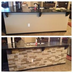 """Airstone durable faux stone wall installation for those DIYers. No power tools or grout needed. Comes in two colors """"Autumn Mountain"""" and """"Spring Creek."""" Priced at Lowe's for $50 for 8 sq ft."""