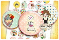 Buttons Pinback Digital Printable Images for Button machine 1.313 inch Flatback Buttons Flair Buttons Clip art Cute Girls b102 - pinned by pin4etsy.com