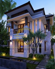 Jasa Arsitek Bali Desain Rumah Ibu Yunita House Outside Design, House Front Design, Home Design Floor Plans, Home Building Design, Modern Small House Design, Modern House Plans, Minimalis House Design, Modern Farmhouse Exterior, Dream House Exterior