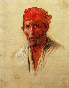 Estudo para cabeça de caipira (1893). Almeida Júnior (1850-1899). óleo sobre tela (58 X 47). Pinacoteca do Estado de São Paulo, Brasil.