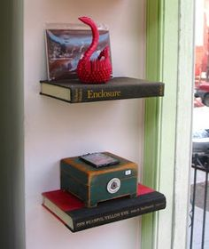 shelves made from old books