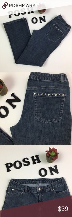 """Michael Kors Studded Dark Blue Straight Leg Jeans Michael Kors Straight Leg Dark Indigo Jeans w/Studded Pockets  MSRP: $119 Sold out!   Size: US 8 Color: Dark Rinsed Indigo  - High quality light stretch - Rinsed dark indigo for aged look - Straight leg - Distressed silver metal studs at back pockets  Measures flat approx: Length: 41"""" Inseam: 31"""" Rise: 8.5"""" Waist: 15.5"""" Hips: 19""""  Condition: EUC, no flaws  Offers warmly accepted - If I can't reach your offer, I'll send you the lowest I can…"""