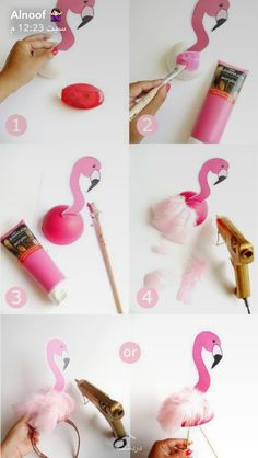 DIY Flamingo Birthday Party Decorations - learn to craft these table, headbands, photo booth props and lawn decor for your summer celebrations!DIY Flamingo Birthday Party Decorations - would be cute for an Alice in wonderland party too. Flamingo Party, Flamingo Baby Shower, Flamingo Cake, Flamingo Birthday, Pink Flamingos, Flamingo Costume, Pink Flamingo Craft, Flamingo Decor, Unicorn Birthday