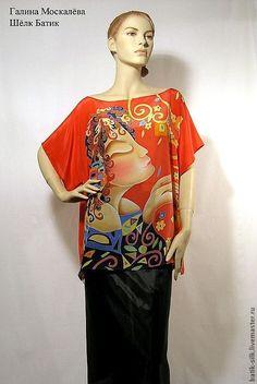 """Блузка шелк батик""""Солнечный Дождь""""шелковая блузка ручная роспись - ярко-красный"""