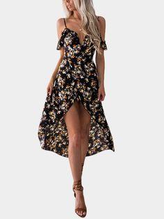 0fac93d39244c Black High-low Hem Random Floral Print Vacation Dress - US 23.95 -YOINS